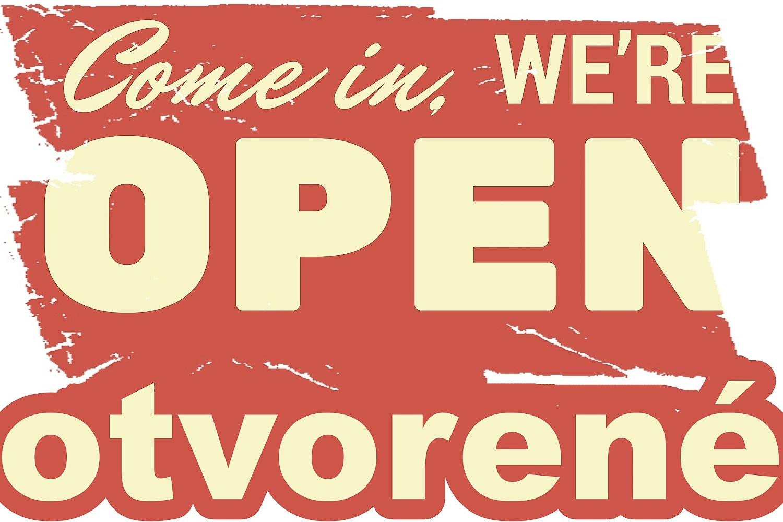 Grafická práca - oznam na vstupné dvere do predajne
