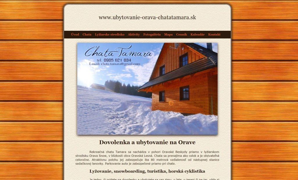 Referencie tvorby web stránok - Ubytovanie Orava chata Tamara