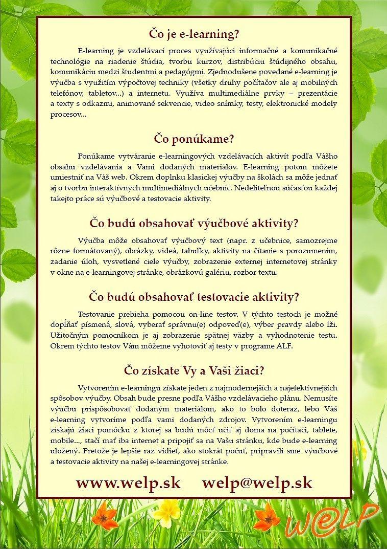 Reklamný katalóg pre E-učebnice